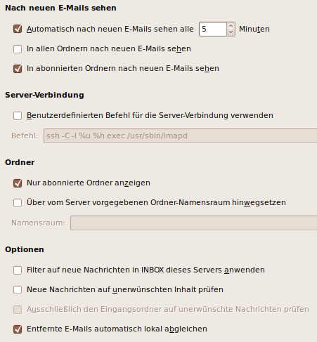 Configuration of IMAP