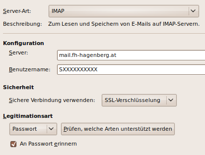IMAP settings in Evolution